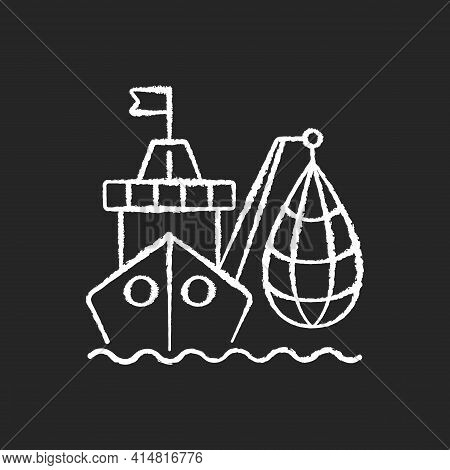 Industrial Fishing Chalk White Icon On Black Background. Selling Fish And Fish Products. Commercial