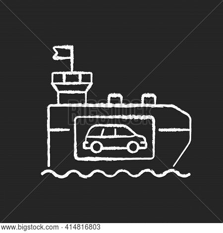 Vehicle Carrier Ship Chalk White Icon On Black Background. Car Shipping Service. Wheeled Cargo Trans