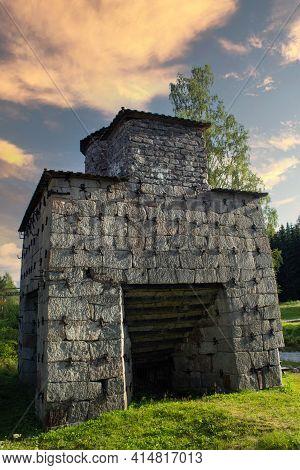 Siljansfors , Sweden - August 09.2012: Historic Ironworks Made Of Stone In Sweden.