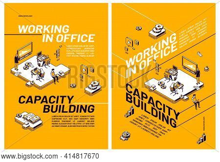 Capacity Building By Working In Office Concept. Posters With People That Improve Skills And Knowledg