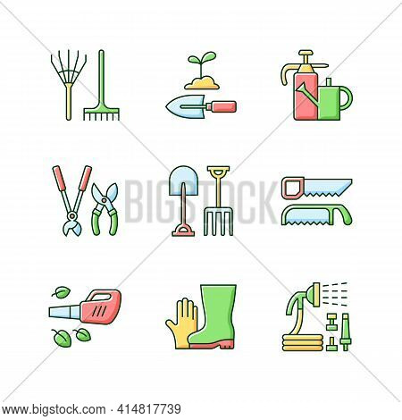 Gardening Equipment Rgb Color Icons Set. Rake. Hand Trowel. Watering Can And Sprayer. Hedge Trimmers