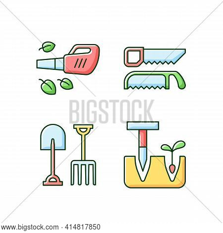 Garden Instruments Rgb Color Icons Set. Leaf Blower. Saws. Fork And Spade. Pointed Wooden Stick. Cle
