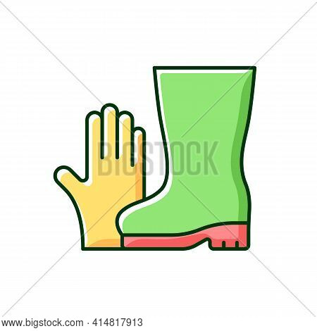 Gardening Gloves And Boots Rgb Color Icon. Garden And Yard Work. Keeping Hands And Fingernails Safe