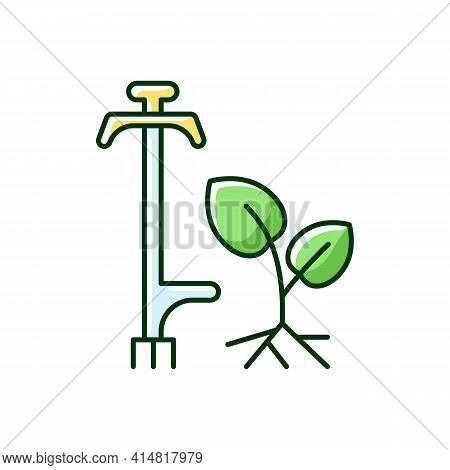 Weed Puller Rgb Color Icon. Garden And Lawn Care. Pulling Tool. Removing Unwanted Deep-rooted Weeds.