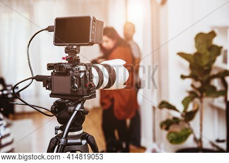 Cinematography Mirrorless Digital Camera Equipments Setup For Record Video Footage Production In Stu