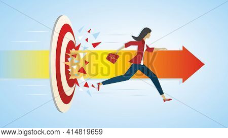 Businesswoman Running Through Dartboard And Continue Along Arrow. Vector Illustration. Eps10.