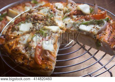 Delicious Pizza, Mozzarella Cheese. Traditional Pizza Background.
