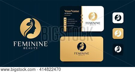 Woman Feminine Logo Design With Business Card Vector Template. Logo Can Be Used For Icon, Brand, Ide