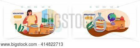 Volunteer Landing Page Design, Website Banner Vector Template Set. Charity, Volunteering, Voluntary