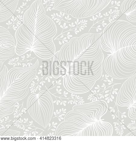 Floral Line Drawn Artistic Pattern With Leaves And Flowers In Elegant Retro Chinese Style. Abstract