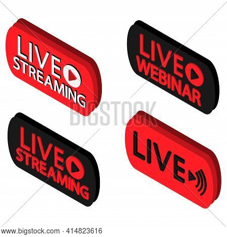 Set Of Live Streaming, Webinar, Broadcasting Icons. Black And Red Symbols And Buttons Of Broadcastin