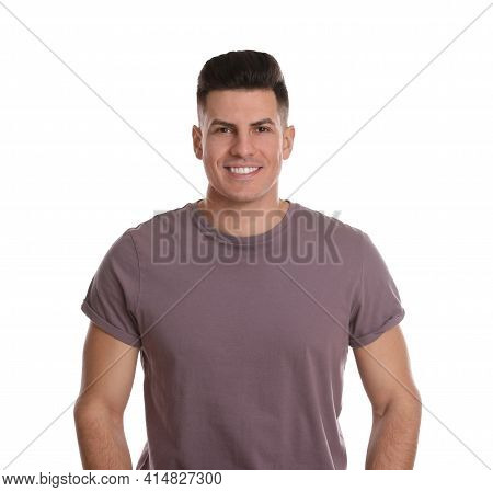 Portrait Of Happy Man On White Background. Personality Concept