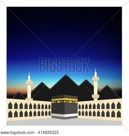 The Holy  Kaaba In Time Of Dawn. Mecca, Saudi Arabia. Pilgrimage Hajj, Ramadan Kareem. Flat Style De