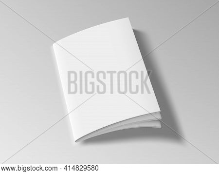 Magazine Or Brochure With Blank Cover On White