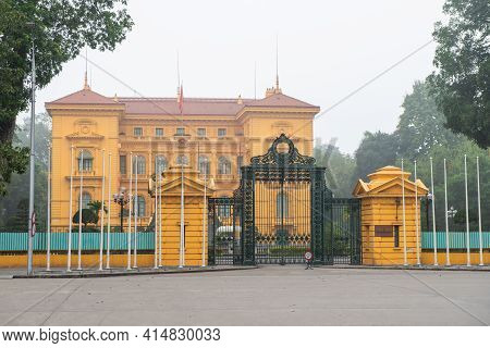 Hanoi, Vietnam : March-26-2019 : The Iron Gate In Front Of The Presidential Palace In The City Of Ha