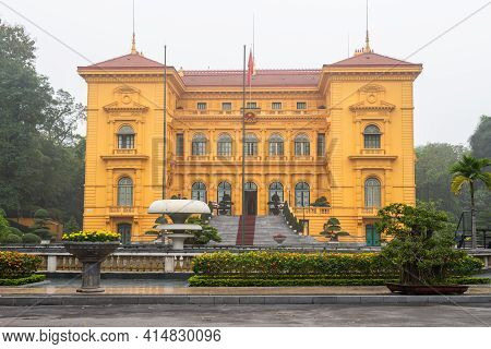 Hanoi, Vietnam : March-26-2019 : The Italian Renaissance Architecture Of Presidential Palace In The