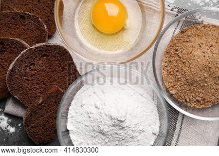 Fresh Breadcrumbs, Flour And Egg On Table, Flat Lay