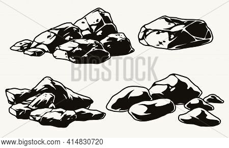 Vintage Monochrome Stones Composition On White Background Isolated Vector Illustration
