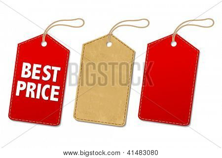 Sale Tags Set, Isolated On White Background, Vector Illustration