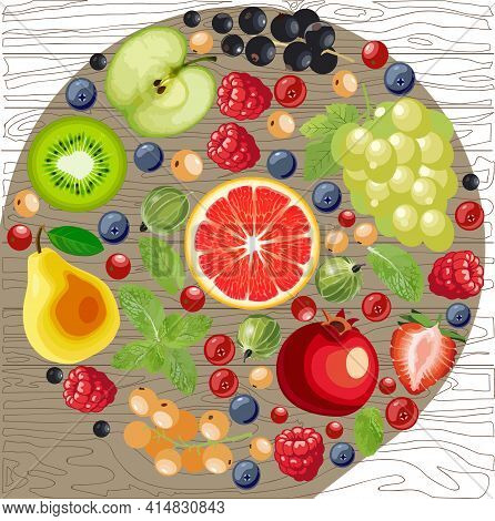 A Mix Of Edible Berries, Cut Grapefruit, Pears, Grapes, Currants, Gooseberries, Raspberries, Blueber