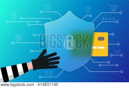 Concept Of Online Fraud, Cyber Crime, Data Hacking. Scammer Want To Steal Personal Details
