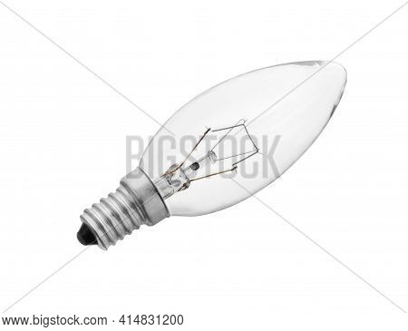 Light Bulb Glow-lamp Isolated On White Background. Incandescent Bulbs, Tungsten Bulb Cut Out.
