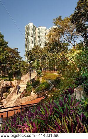 Tsim Sha Tsui., Kowloon, Hong Kong, China, November 12, 2008: People At Kowloon Park And Skyline Of