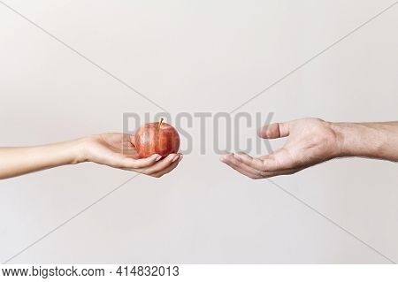 Hand Giving Apple Fruit Needy Person. High Quality And Resolution Beautiful Photo Concept