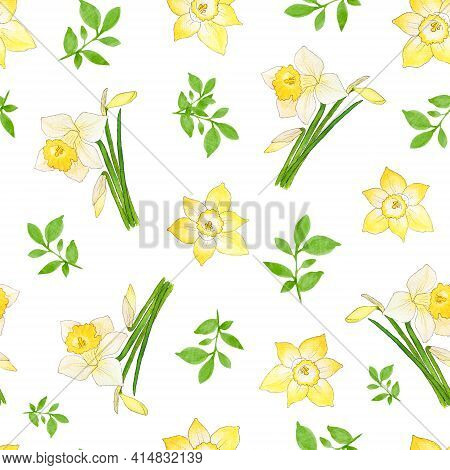 Watercolor Spring Pattern With Daffodil Flowers. Spring Floral Pattern With Yellow Daffodils. Design