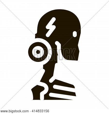 Cervical Vertebrae Arthritis Glyph Icon Vector. Cervical Vertebrae Arthritis Sign. Isolated Symbol I