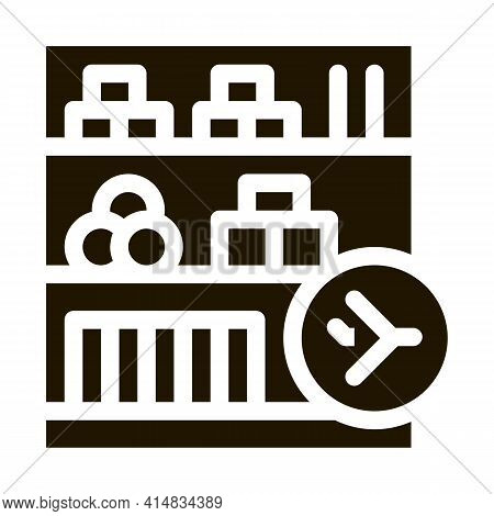 Shelf With Goods In Duty Free Glyph Icon Vector. Shelf With Goods In Duty Free Sign. Isolated Symbol