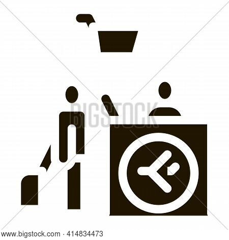 Man With Suitcase At Checkout Duty Free Glyph Icon Vector. Man With Suitcase At Checkout Duty Free S