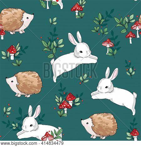 Hand Drawn Sketch Cute Baby Rabbit And Hedgehog Pattern Seamless. Woodland Print Design For Children