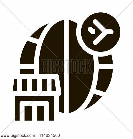 Duty Free All Over World Glyph Icon Vector. Duty Free All Over World Sign. Isolated Symbol Illustrat