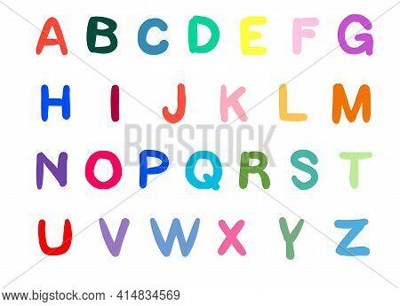 Alphabet A, B, C, D, E, F, G, H, I, J, K, L, M, N, O, P Q R S T U V W X Y Z Set Vector Illustration