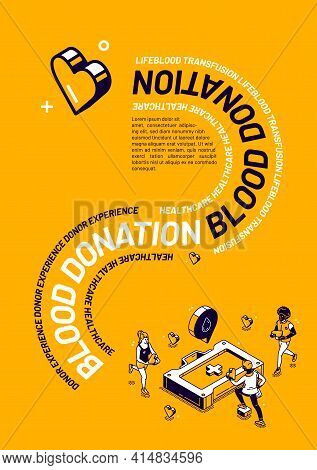 Blood Donation Isometric Poster, Donor Experience, Lifeblood Transfusion Healthcare Concept With Tin