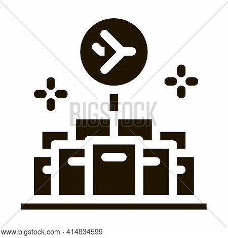 Lot Of Goods In Duty Free Glyph Icon Vector. Lot Of Goods In Duty Free Sign. Isolated Symbol Illustr