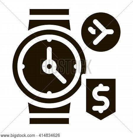 Purchase Cash Wristwatch Duty Free Glyph Icon Vector. Purchase Cash Wristwatch Duty Free Sign. Isola