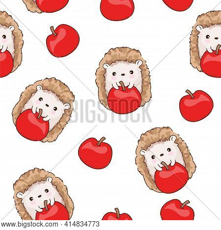 Hand Drawn Cute Sketch Baby Hedgehog And Apple Forest Background Pattern Seamless. Woodland Print De