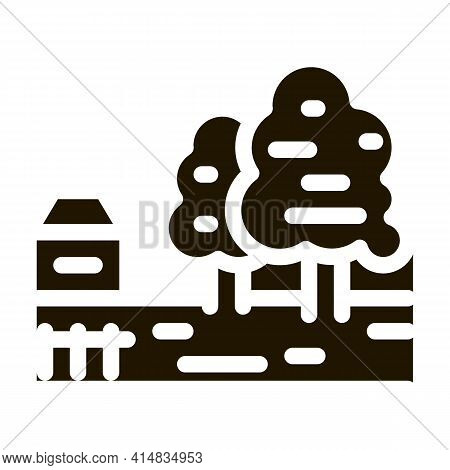 Orchard In Village Glyph Icon Vector. Orchard In Village Sign. Isolated Symbol Illustration