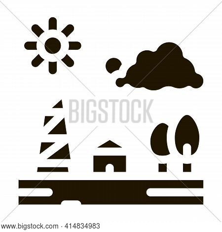 Communication Tower In Village Glyph Icon Vector. Communication Tower In Village Sign. Isolated Symb