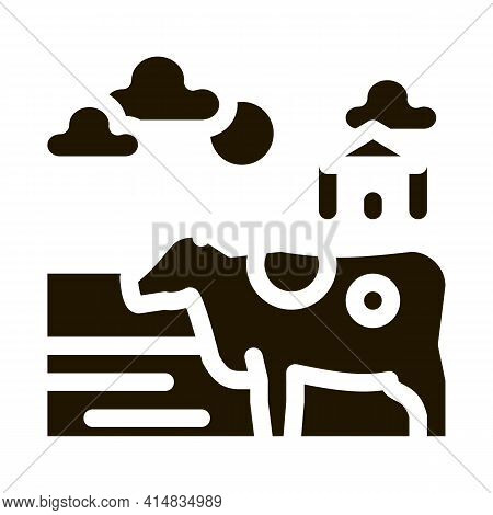 Spotted Cow In Village Glyph Icon Vector. Spotted Cow In Village Sign. Isolated Symbol Illustration