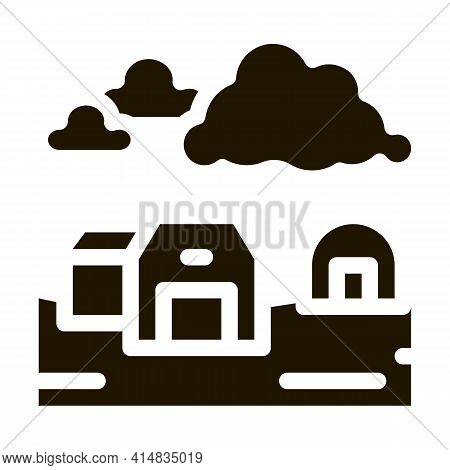 House With Greenhouse Glyph Icon Vector. House With Greenhouse Sign. Isolated Symbol Illustration