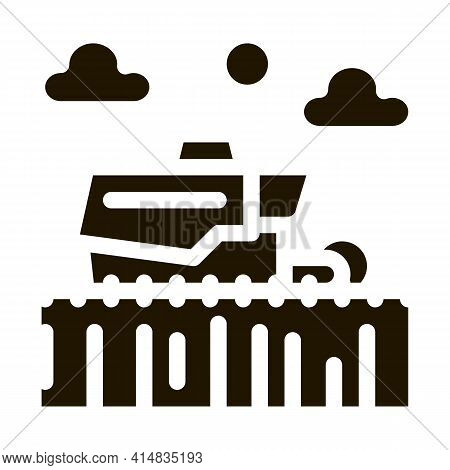 Tractor In Wheat Field Glyph Icon Vector. Tractor In Wheat Field Sign. Isolated Symbol Illustration
