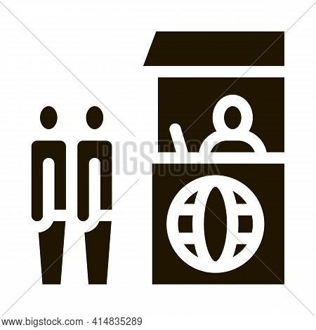 People On Check Control Glyph Icon Vector. People On Check Control Sign. Isolated Symbol Illustratio
