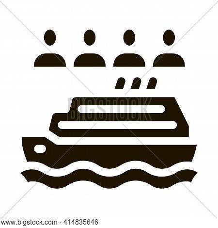 Sea Crossing Liner People Glyph Icon Vector. Sea Crossing Liner People Sign. Isolated Symbol Illustr