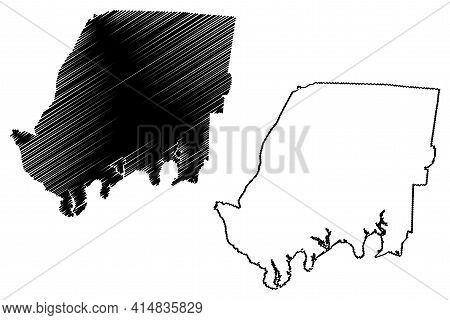 Sumner County, State Of Tennessee (u.s. County, United States Of America, Usa, U.s., Us) Map Vector