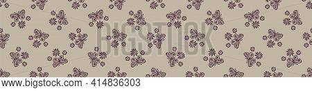 Hand Carved Butterfly Block Print Seamless Border Pattern. Rustic Naive Folk Motif Illustration Bann