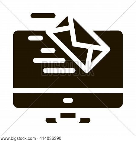 Received Letter To Computer Glyph Icon Vector. Received Letter To Computer Sign. Isolated Symbol Ill