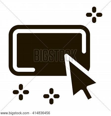 Click On Optimization Button Glyph Icon Vector. Click On Optimization Button Sign. Isolated Symbol I
